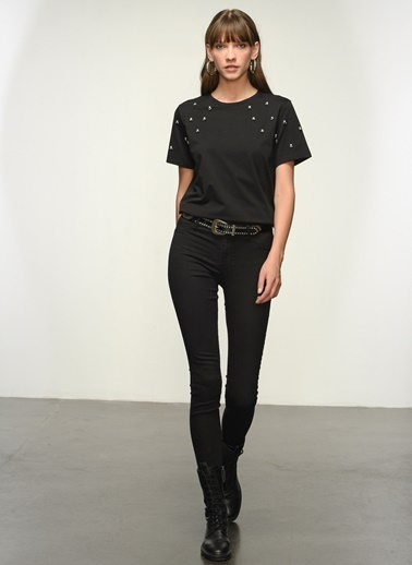 NGSTYLE Ngkss21Ts0009 Taş Işlemeli Tişört Siyah